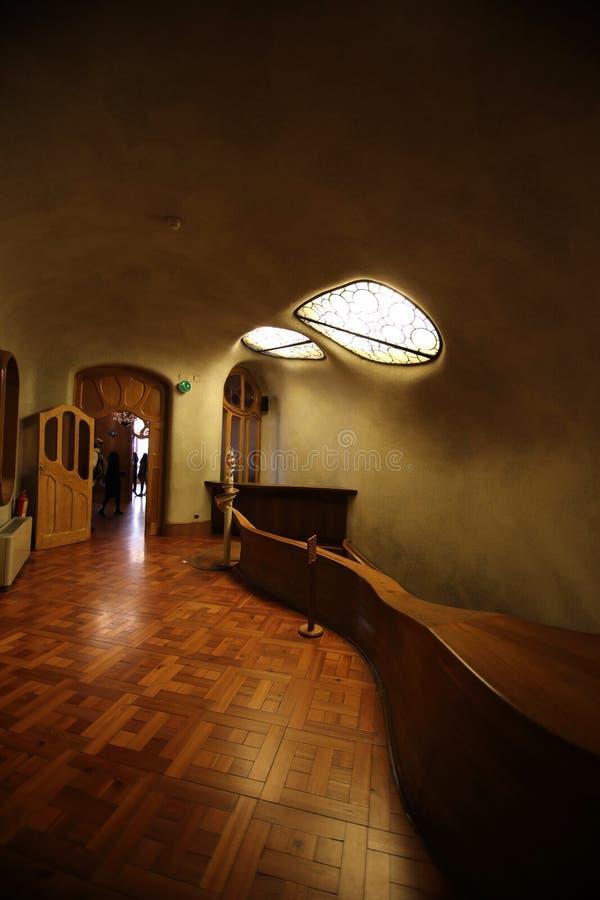 内部室,住处Batllo,巴塞罗那,西班牙 免版税图库摄影