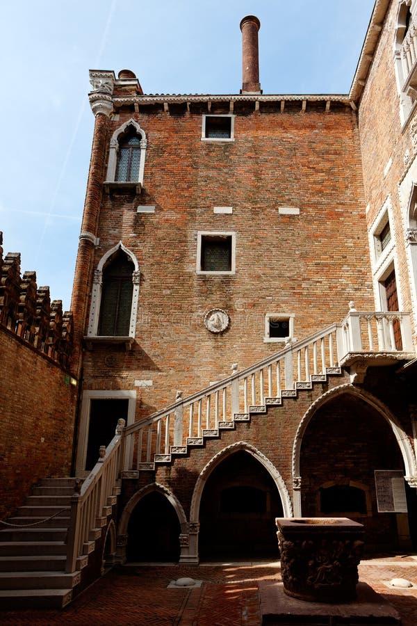 内部庭院加州d'Oro,威尼斯,意大利 库存照片