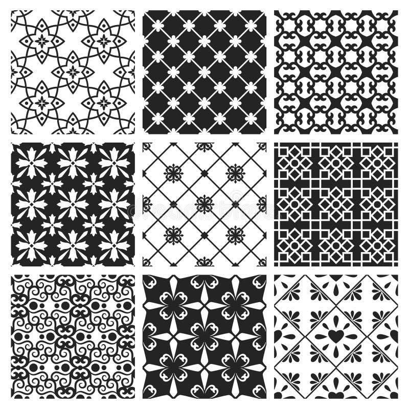 内部摩洛哥设计黑色陶瓷集合 向量例证