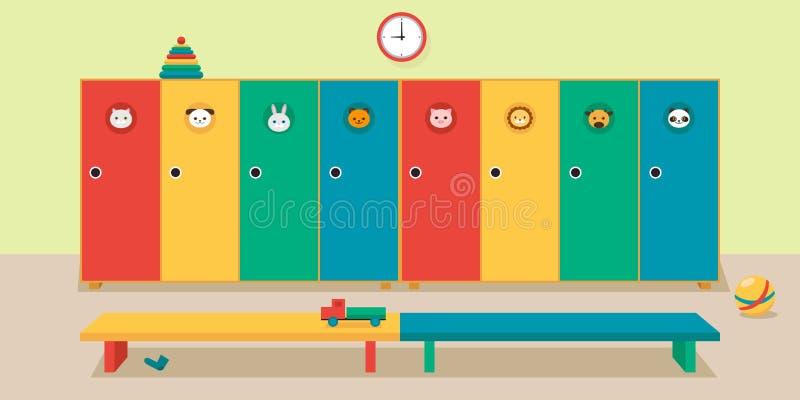内部更衣室在幼儿园,传染媒介例证 库存例证