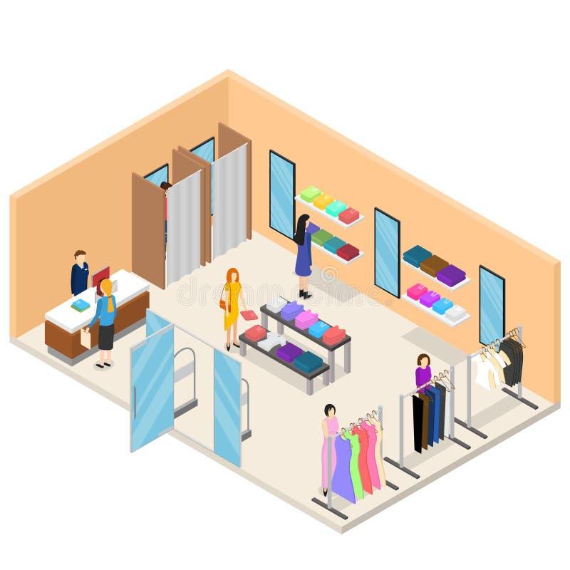 内部服装店等轴测图 向量 皇族释放例证