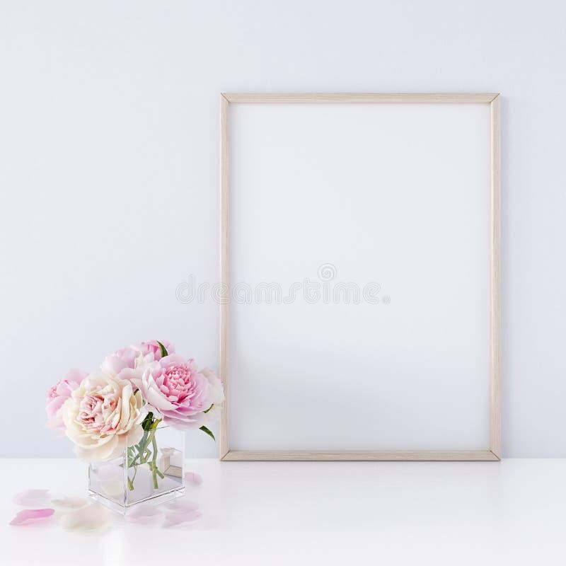 内部海报嘲笑与垂直的木制框架和花在花瓶在白色墙壁背景3D回报 库存例证