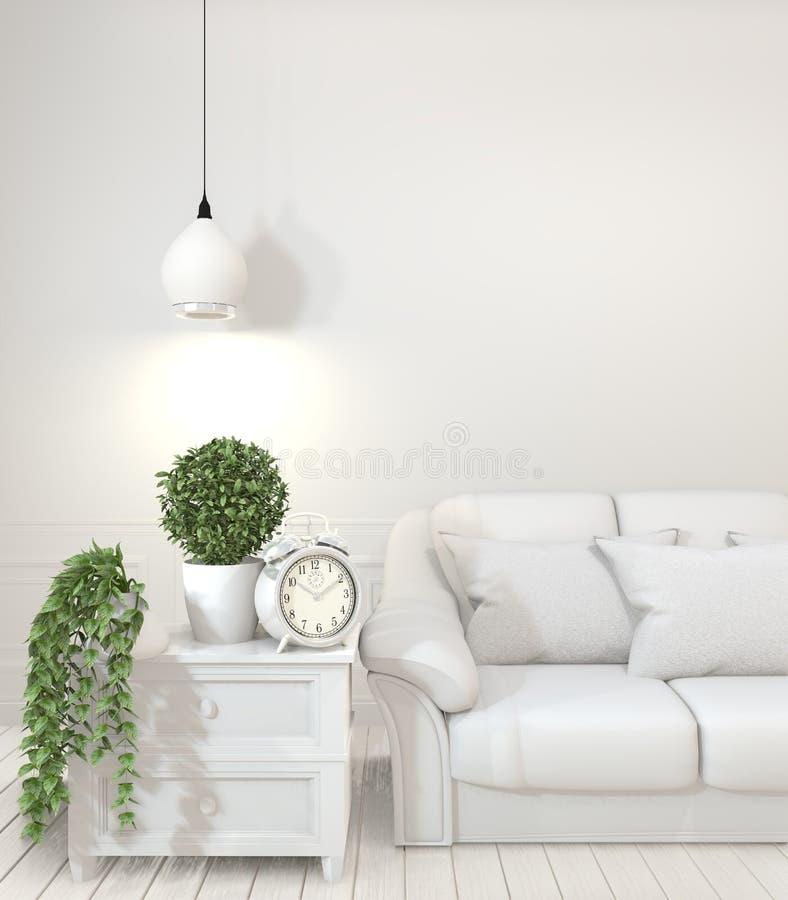 内部海报嘲笑的嘲笑与空的木沙发、植物和灯在空的屋子里有白色墙壁的 3d?? 库存例证
