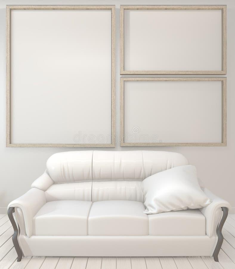 内部海报嘲笑的嘲笑木制框架、沙发、植物和灯在客厅有白色墙壁最小的设计的 3d?? 向量例证