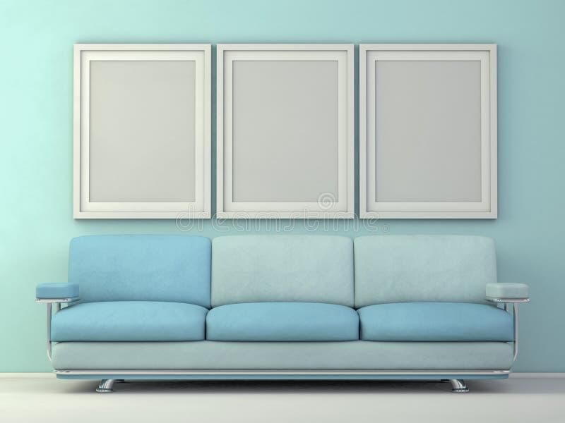 内部海报大模型在客厅 3d 库存例证