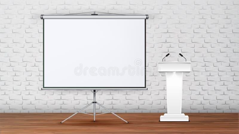 内部演讲传染媒介的现代会议室 向量例证