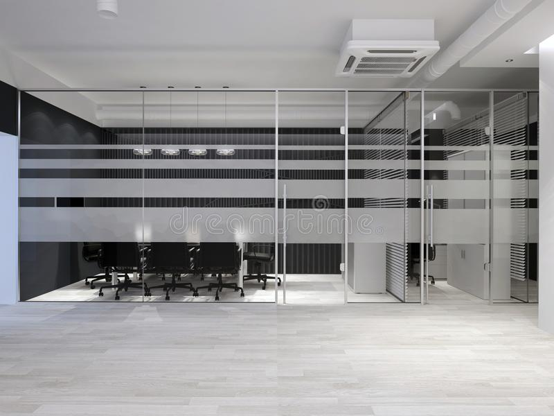 内部现代办公室 主持会议会议室表 3d翻译 免版税库存图片