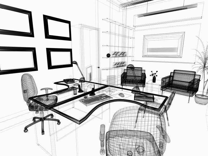 内部现代办公室 库存例证