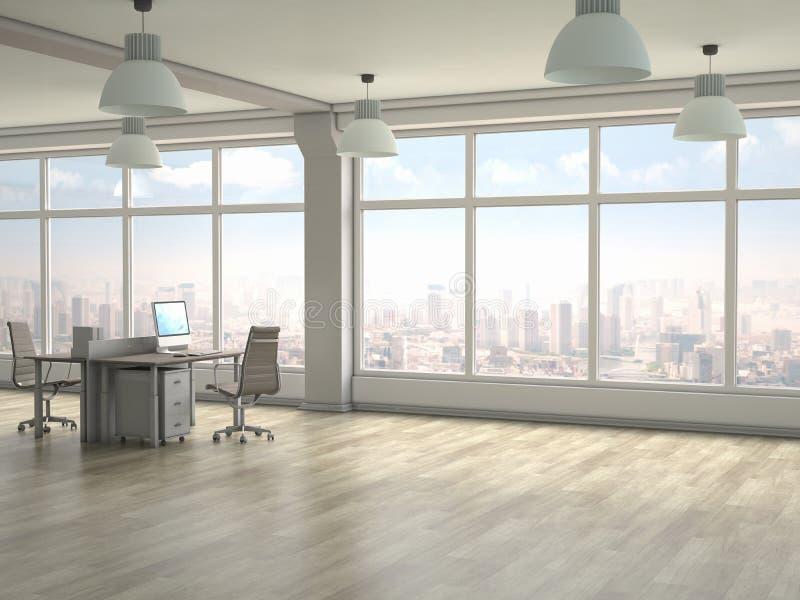 内部现代办公室 3d回报 库存例证