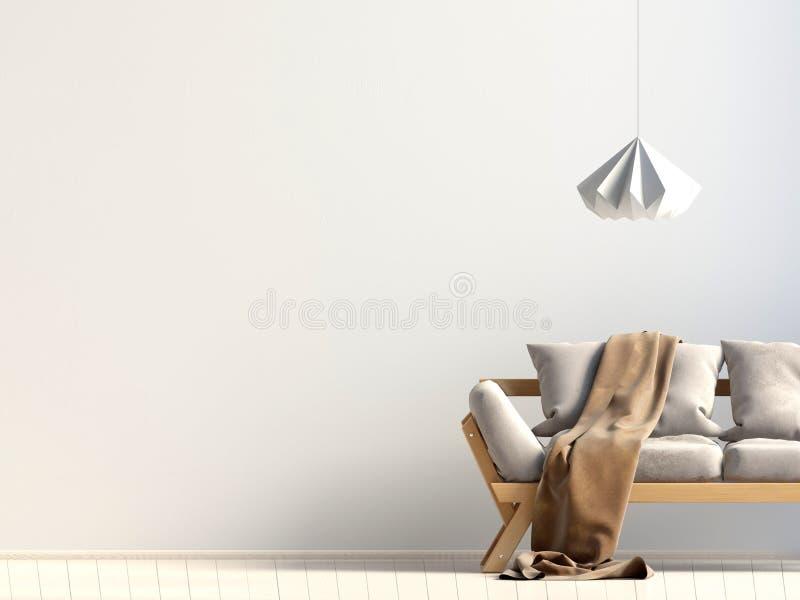 内部现代沙发 墙壁嘲笑 库存例证