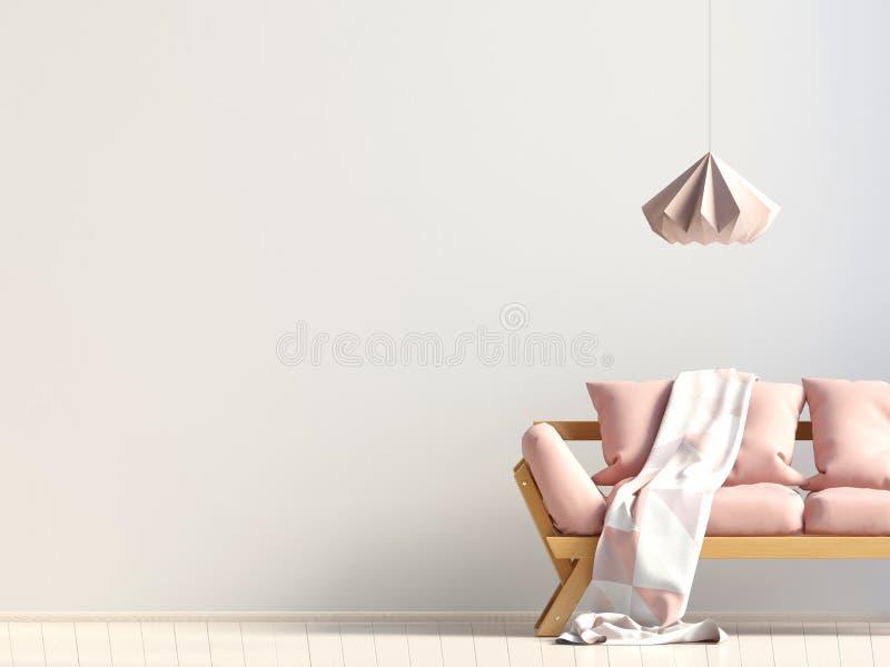 内部现代沙发 墙壁嘲笑 向量例证
