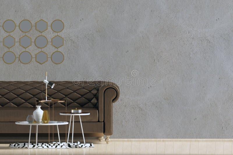 内部现代沙发 墙壁嘲笑 皇族释放例证