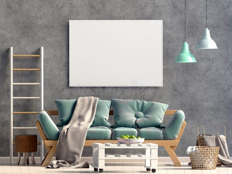 内部现代沙发 海报嘲笑 库存例证