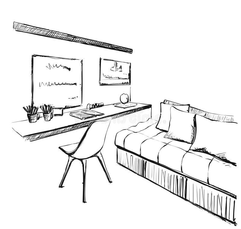 内部现代草图 工作场所和沙发 Chirds室 库存例证
