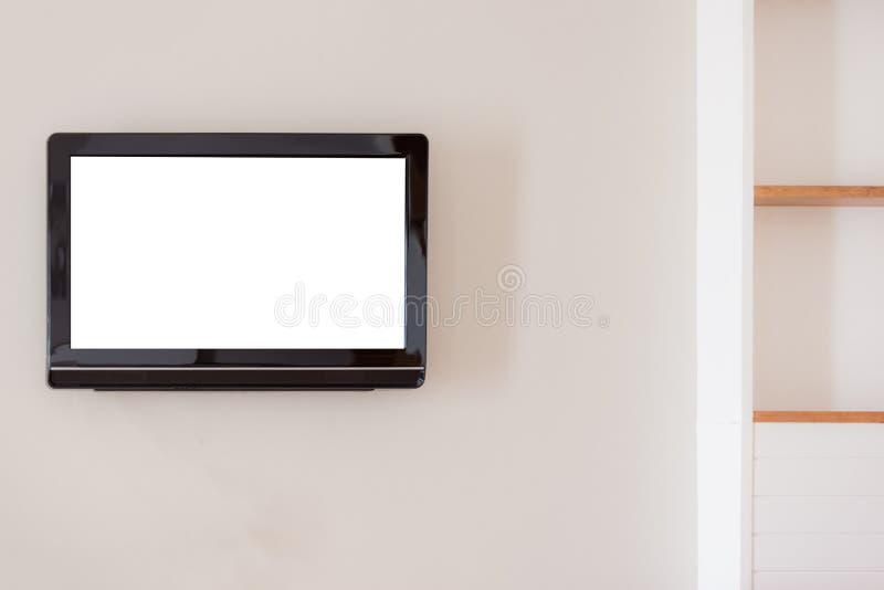 内部现代设计概念:平的白色空白的宽银幕lc 免版税库存照片