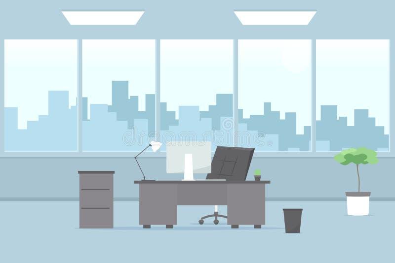 内部现代办公室 蓝色云彩图象彩虹天空向量 向量例证