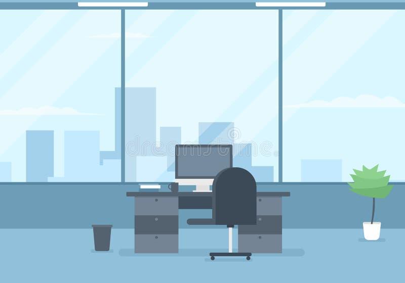 内部现代办公室 蓝色云彩图象彩虹天空向量 皇族释放例证