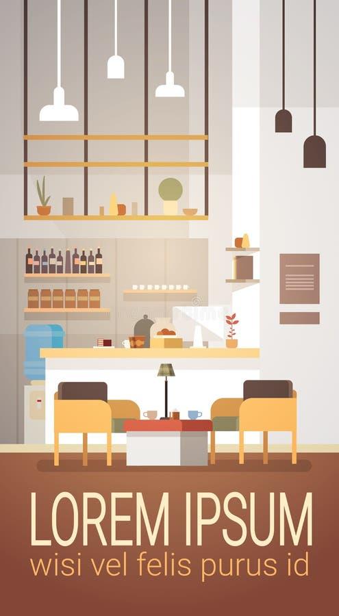 内部现代的咖啡馆不倒空人餐馆 库存例证