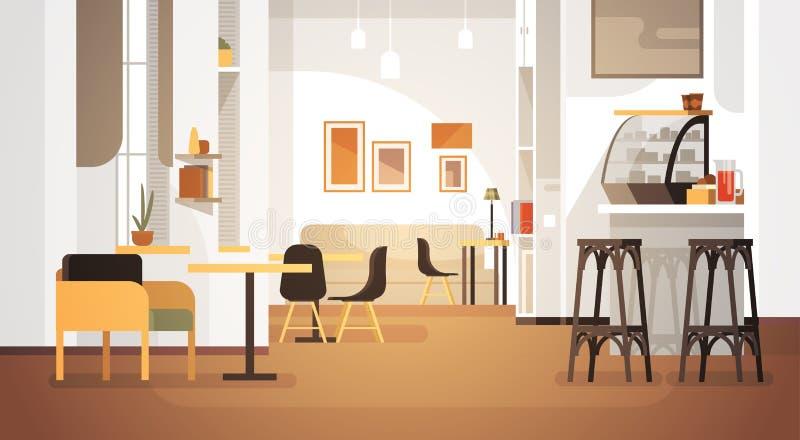内部现代的咖啡馆不倒空人餐馆 向量例证