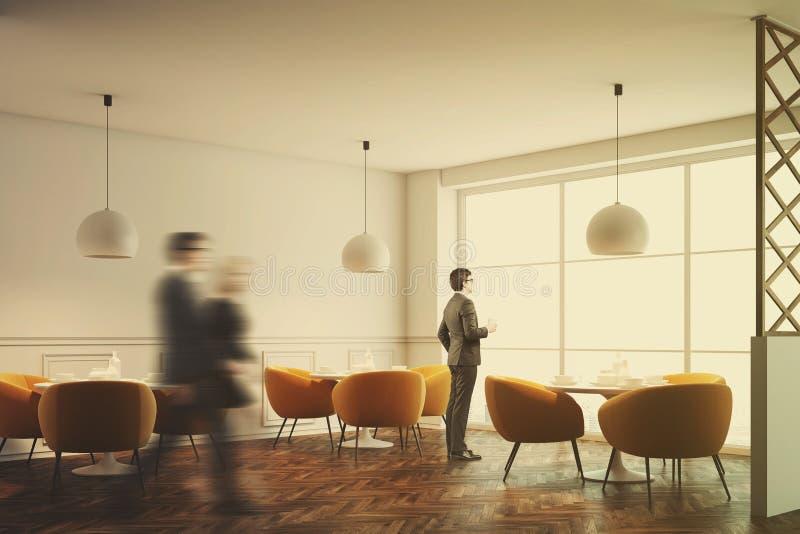 内部白色的咖啡馆,被定调子的橙色椅子 库存例证