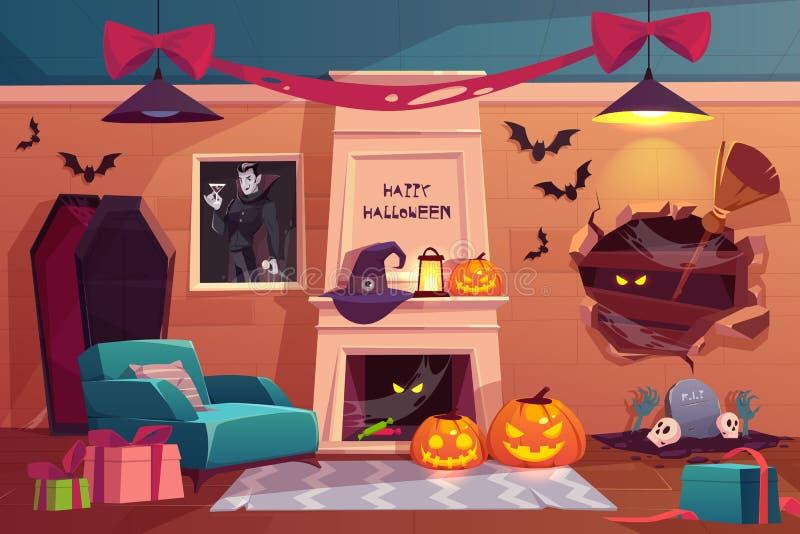 内部的万圣节,空的可怕吸血鬼室 库存例证
