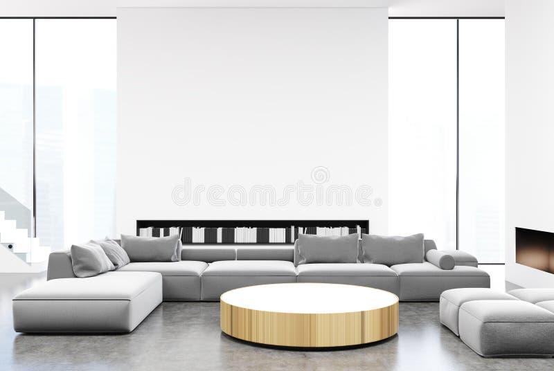内部的客厅,灰色沙发 向量例证