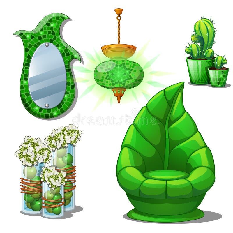 内部的家具集合绿色关于在白色背景隔绝的植物 也corel凹道例证向量 皇族释放例证