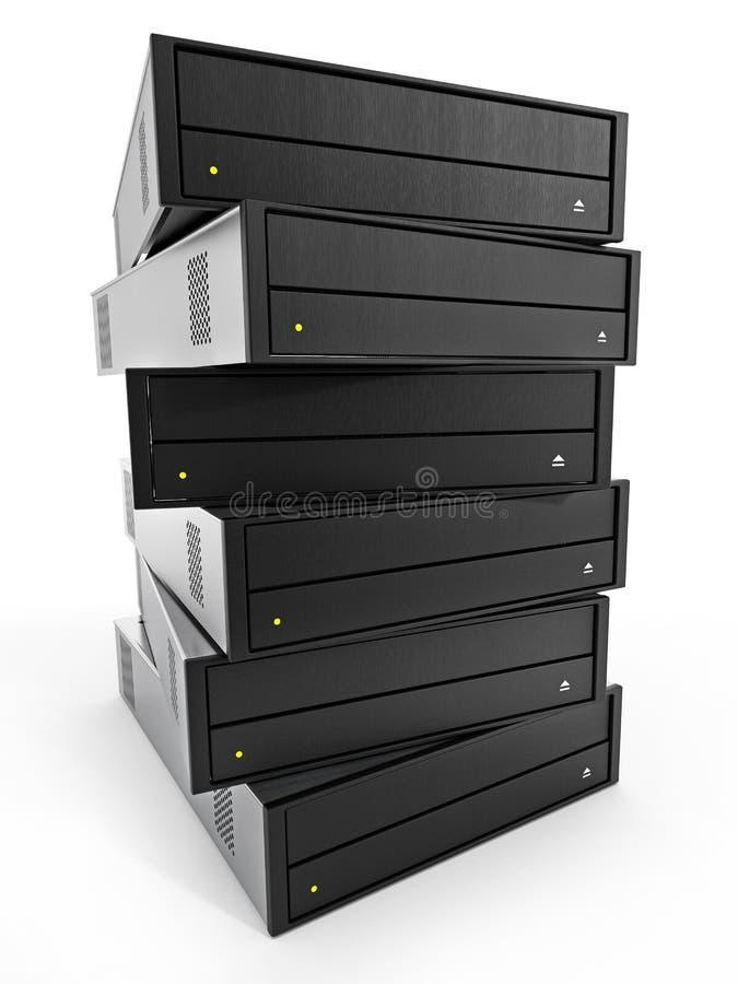 内部磁盘驱动器堆 3d例证 库存例证