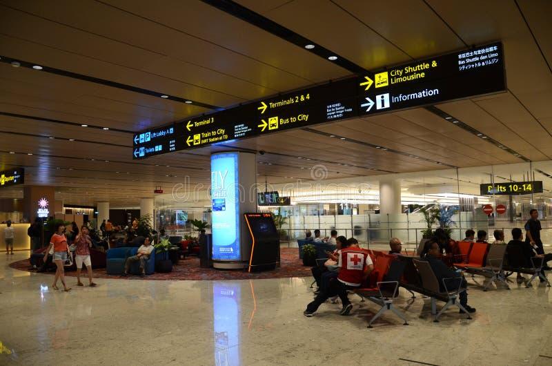 内部终端1在樟宜机场新加坡 库存图片