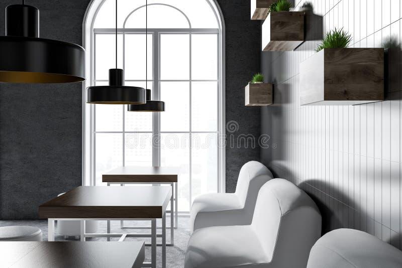 内部舒适的咖啡馆,白色扶手椅子关闭  向量例证