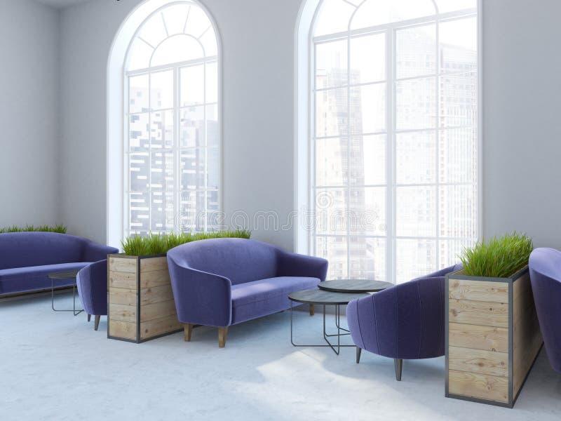 内部被成拱形的窗口的咖啡馆,紫色沙发 皇族释放例证