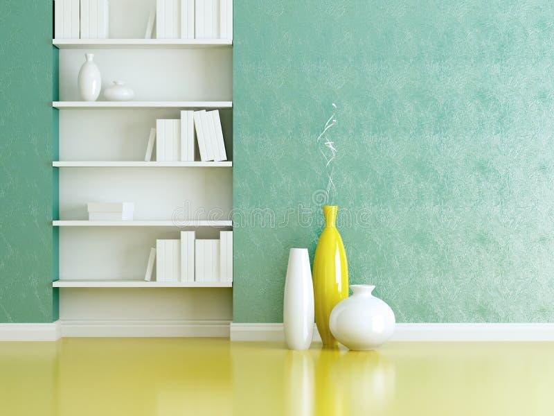 内部装饰业。 室内书架和花瓶。 图库摄影
