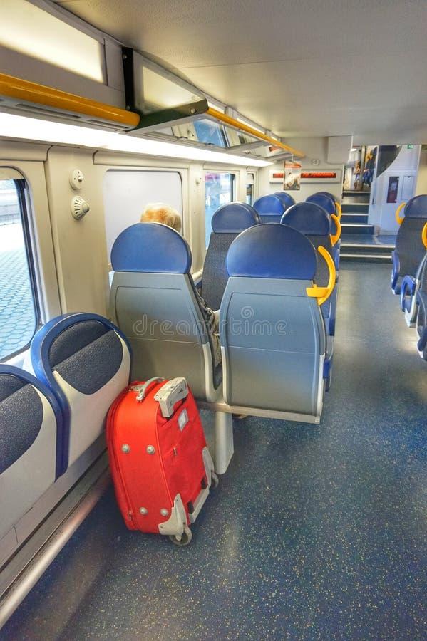 内部长途火车在意大利 免版税库存照片