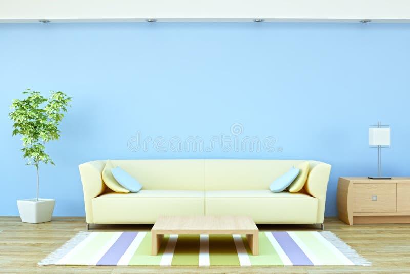 内部闪亮指示工厂沙发 向量例证