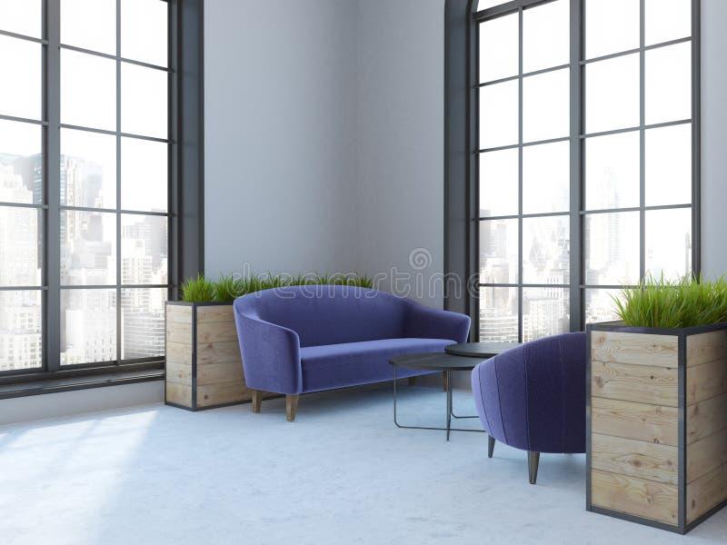 内部顶楼的咖啡馆,紫色沙发 向量例证