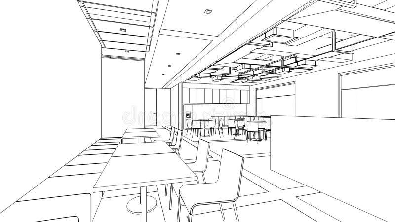 内部餐具室区域的概述剪影 向量例证
