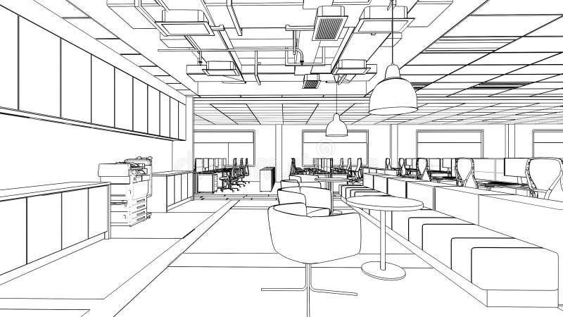 内部餐具室区域的概述剪影 库存例证