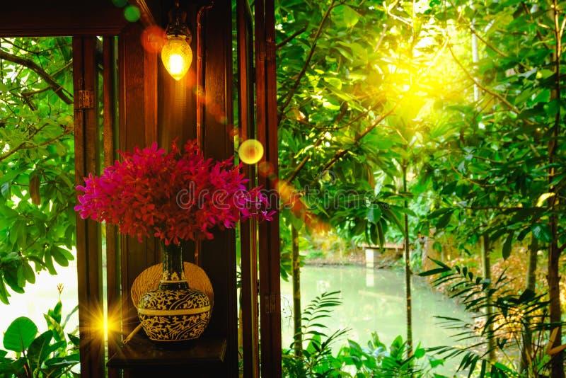 内部,兰花有美丽的紫色开花的植物花瓶有照明设备对窗口的火光作用的 免版税图库摄影