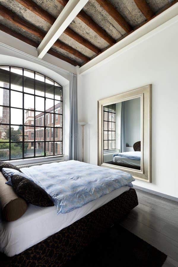 内部,卧室的视图 免版税库存图片