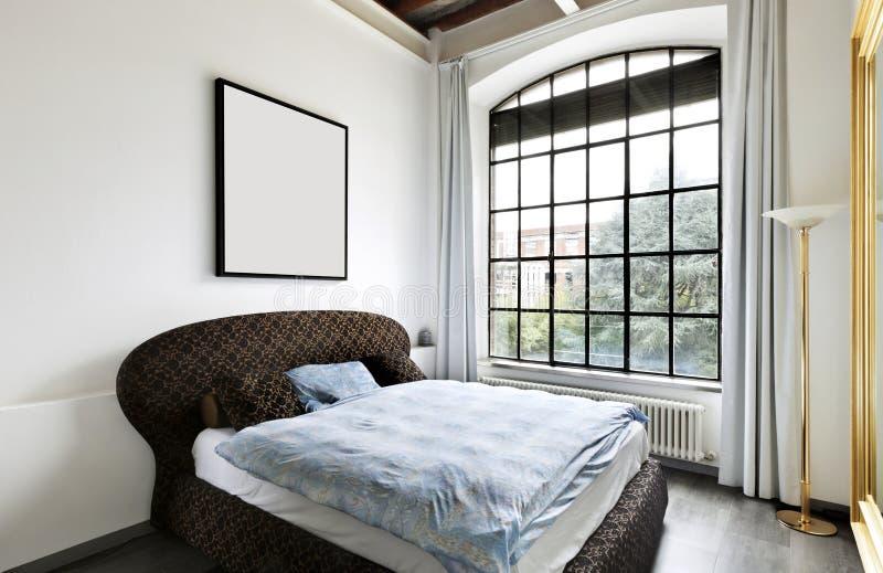 内部,卧室的视图 免版税库存照片