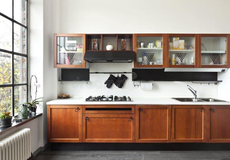 内部,厨房的视图 免版税库存图片