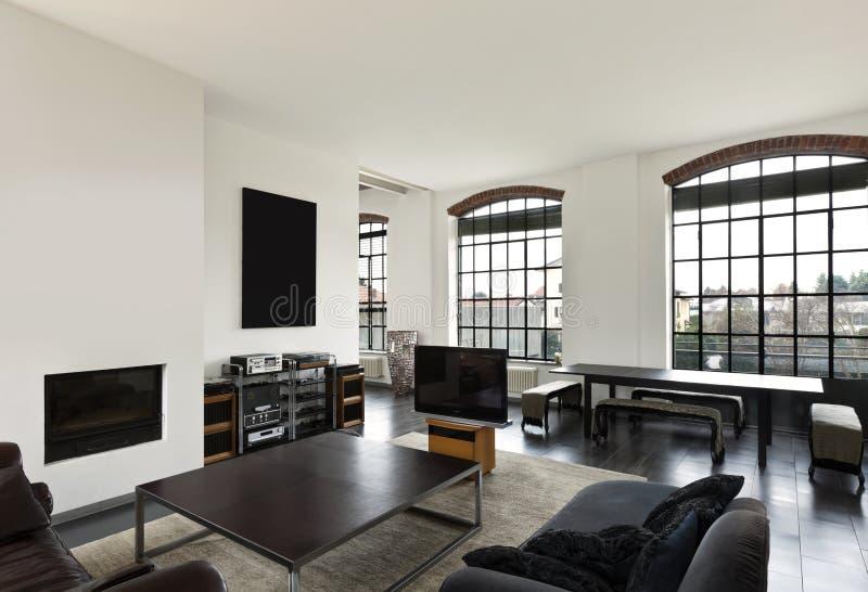 内部,客厅的视图 免版税图库摄影