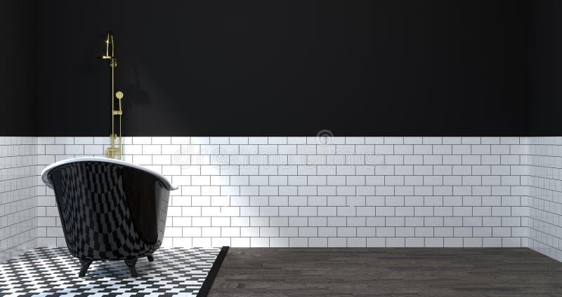 内部,洗手间,阵雨,现代家庭拷贝空间白色背景的设计干净的墙壁3D例证的卫生间嘲笑 皇族释放例证