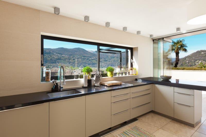 内部,现代厨房 免版税库存图片