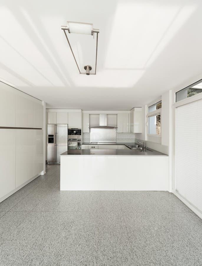 内部,白色厨房 库存照片
