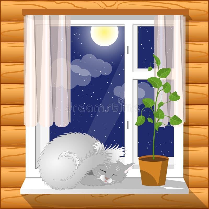 内部 在窗台舒适睡觉猫 向量例证