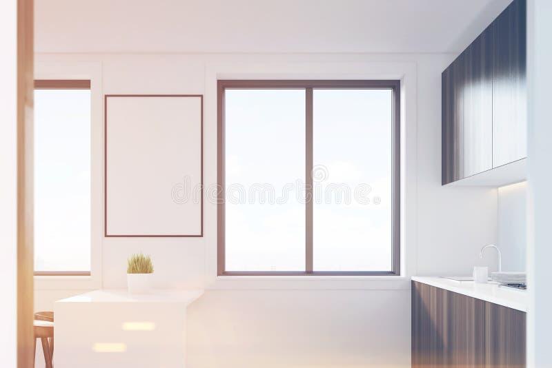 内部黑暗的木的厨房,侧视图,被定调子 皇族释放例证