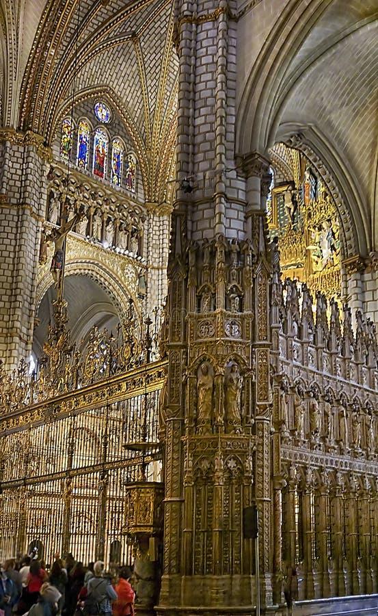 内部St MarÃa de托莱多大教堂,托莱多,西班牙 库存照片