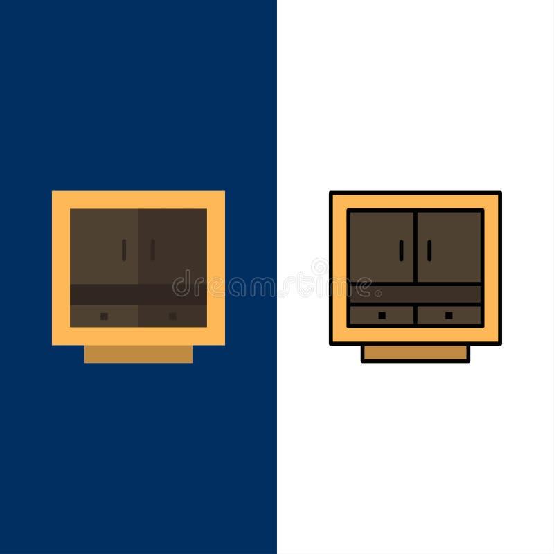内阁,事务,抽屉,文件,家具,办公室,存贮象 舱内甲板和线被填装的象设置了传染媒介蓝色背景 向量例证