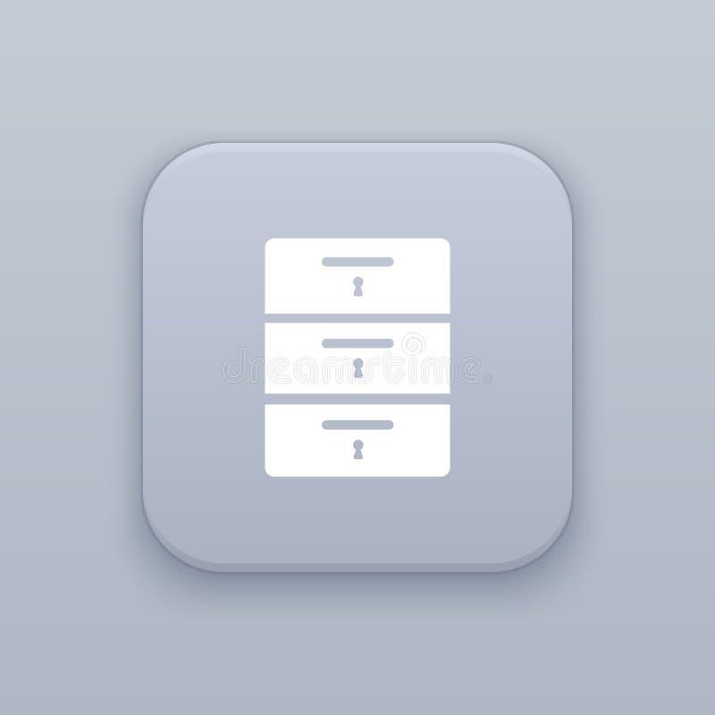 内阁,碗柜,有白色象的灰色传染媒介按钮 向量例证